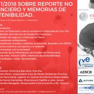 Jornada «Ley 11/2018 sobre Reporte No Financiero y Memorias de Sostenibilidad»