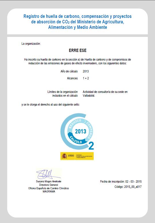 certificado inscripción Registro Nacional de Huella de Carbono 2013 Erre Ese