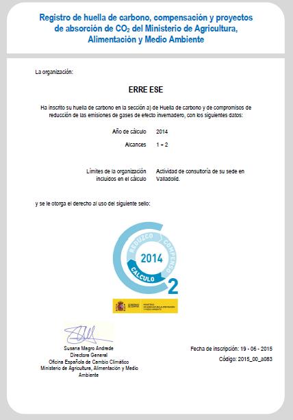 Certificado inscripción en el Registro de Huella de Carbono 2024 Erre Ese