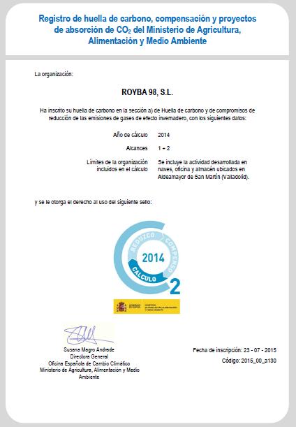 inscripción en el Registro Nacional de Huella de Carbono 2014 Royba | Erre Ese